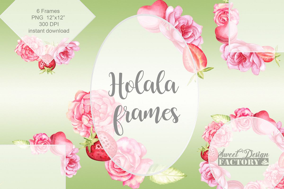 Wedding watercolor flowers frames example image 1