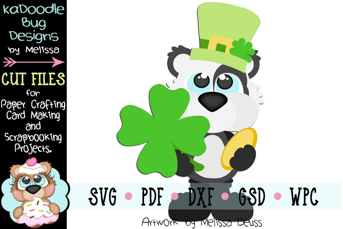 Lucky Panda Bear Cut File - SVG PDF DXF GSD WPC example image 1