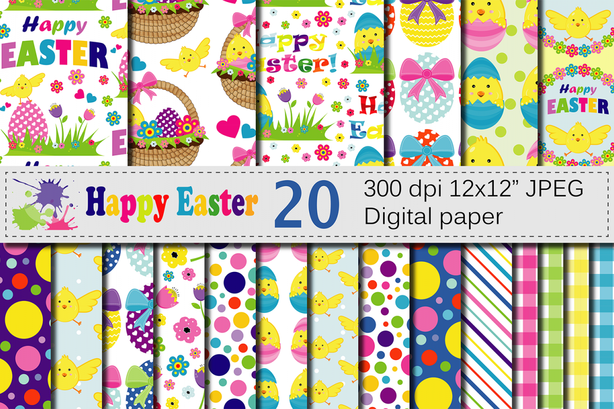 Bright Easter Digital Paper / Happy Easter chick and eggs backgrounds / Easter pattern / Scrapbooking paper example image 1