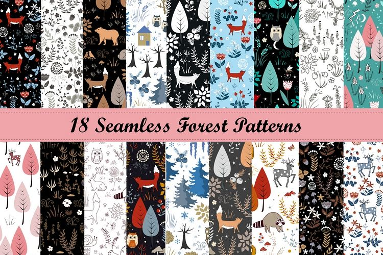 Forest bundle. 18 Seamless Patterns example image 1