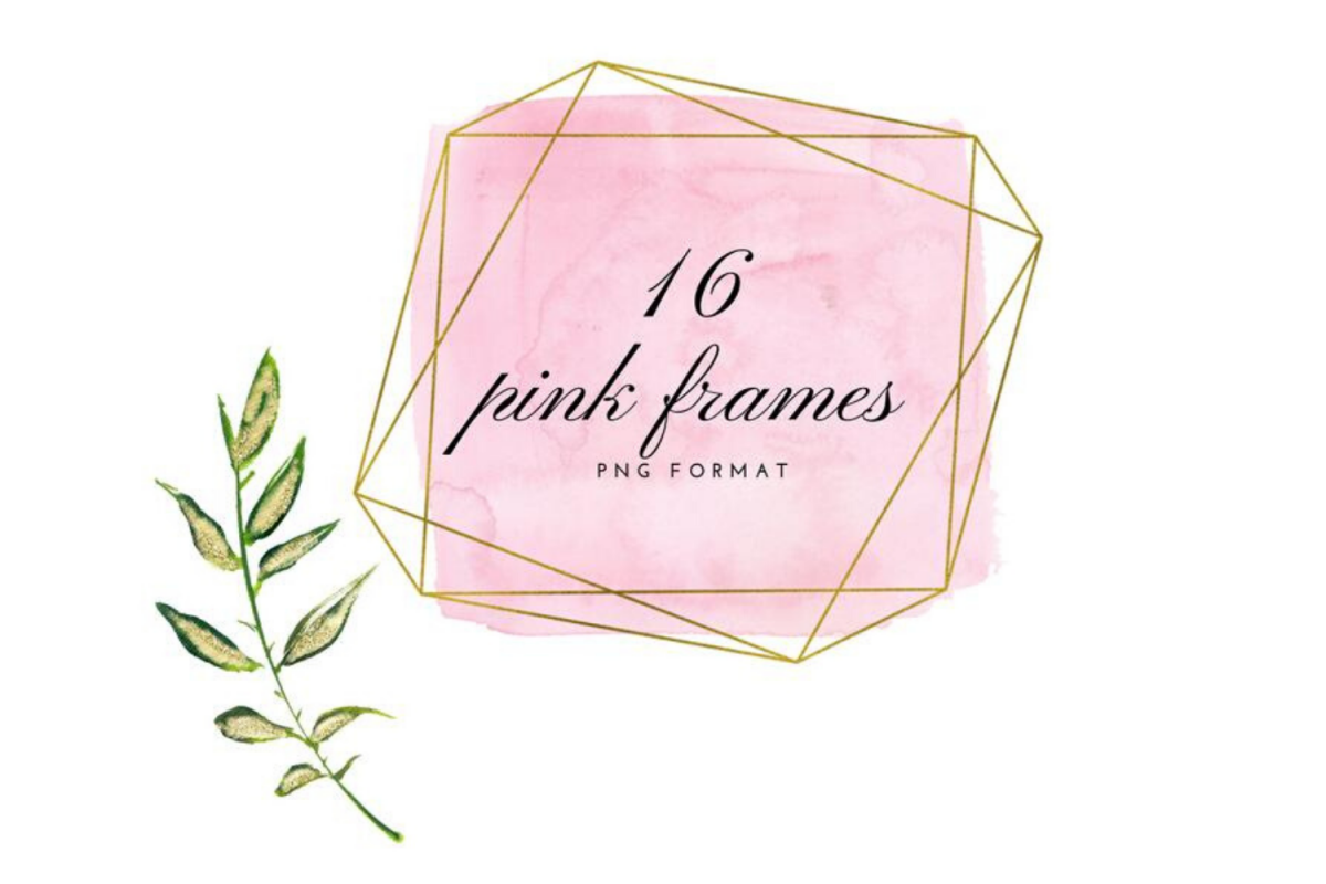 Pink and gold frames clip art, Watercolor design elements example image 1