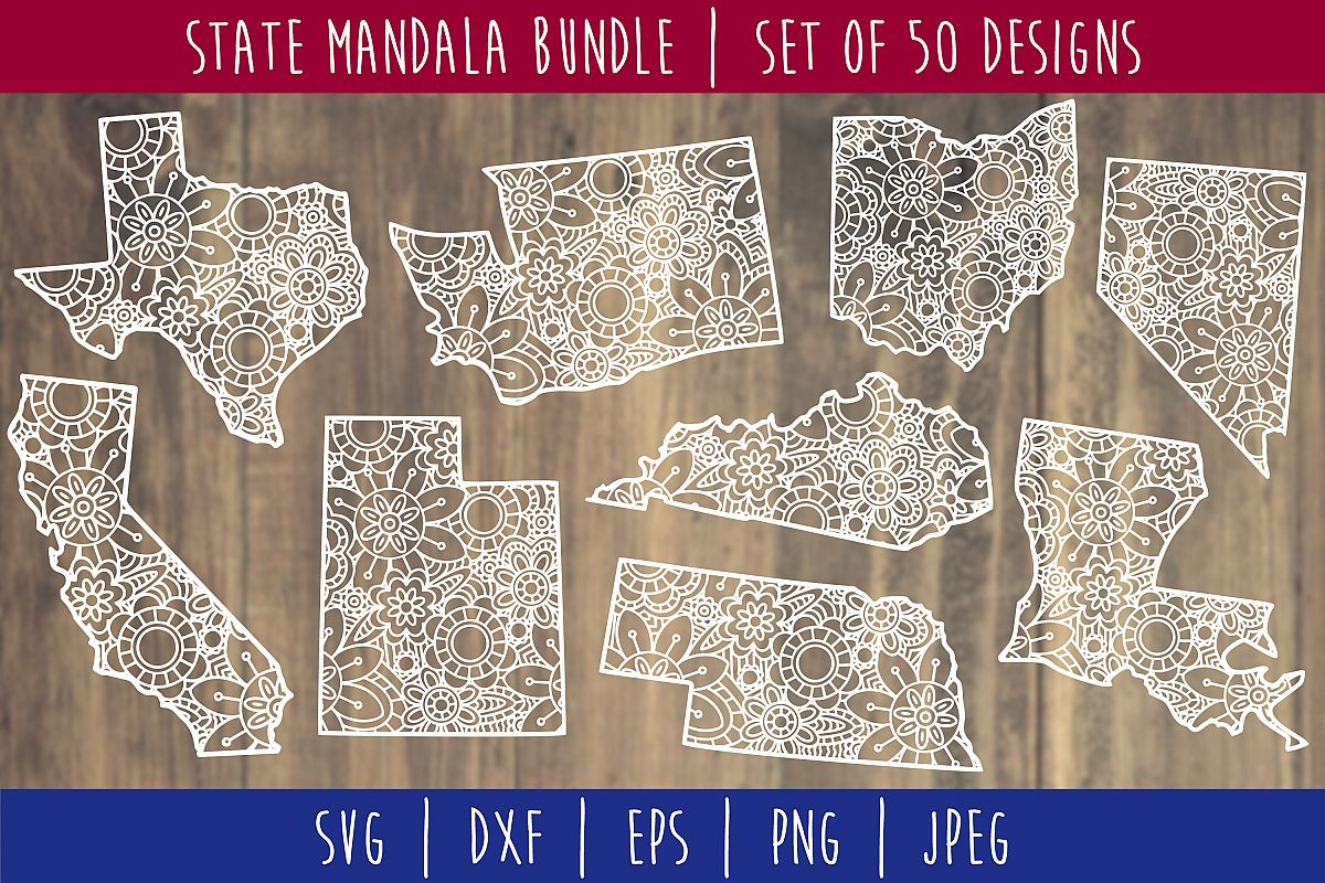 State Mandala Zentangle Bundle Set of 50 - USA SVG example image 1