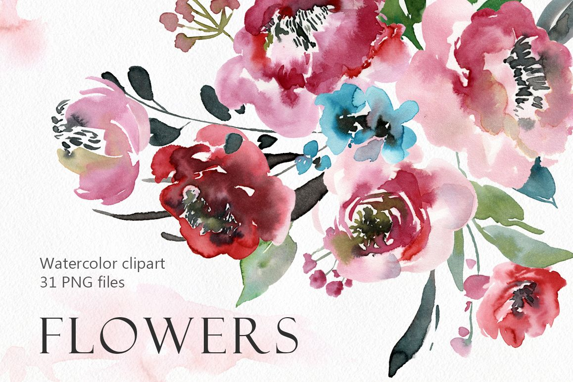 Watercolor peony, roses flowers PNG collection example image 1