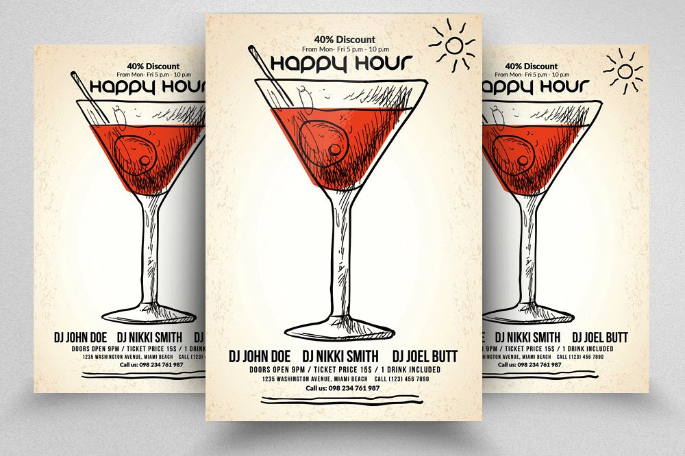 Happy Hour Flyer Template 08 example image 1