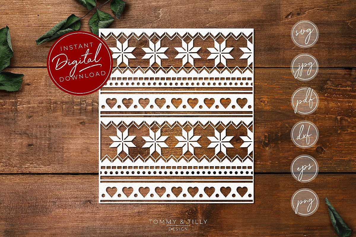 Christmas Pattern No.2 - SVG EPS DXF PNG PDF JPG Cut File example image 1