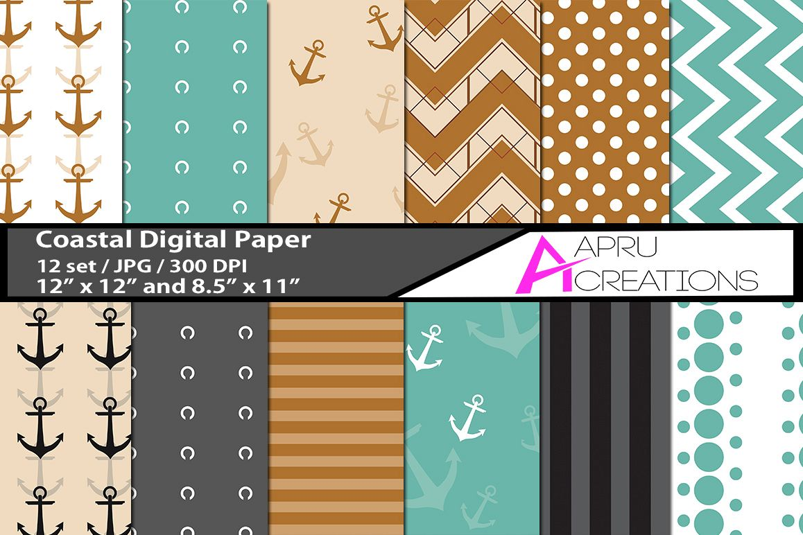 coastal digital papers, coastal  pattern, digital papers, high quality 300 dpi, 12 x 12 inch , and 8.5 x 11 inch example image 1