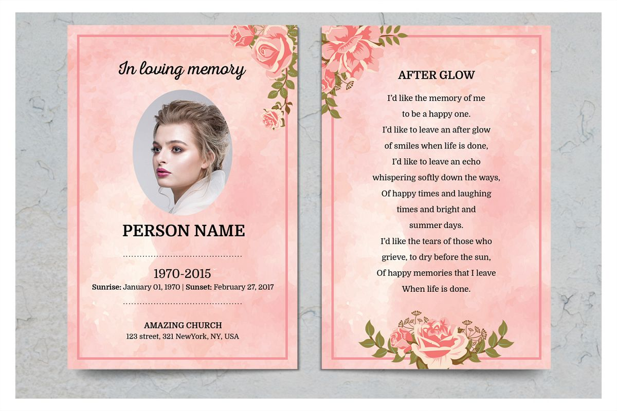 Rose Gold Prayer Card Template Example Image 1