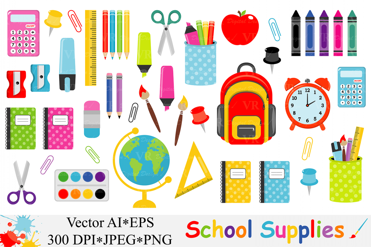School Supplies Clipart, Back to School Clipart - Vector example image 1