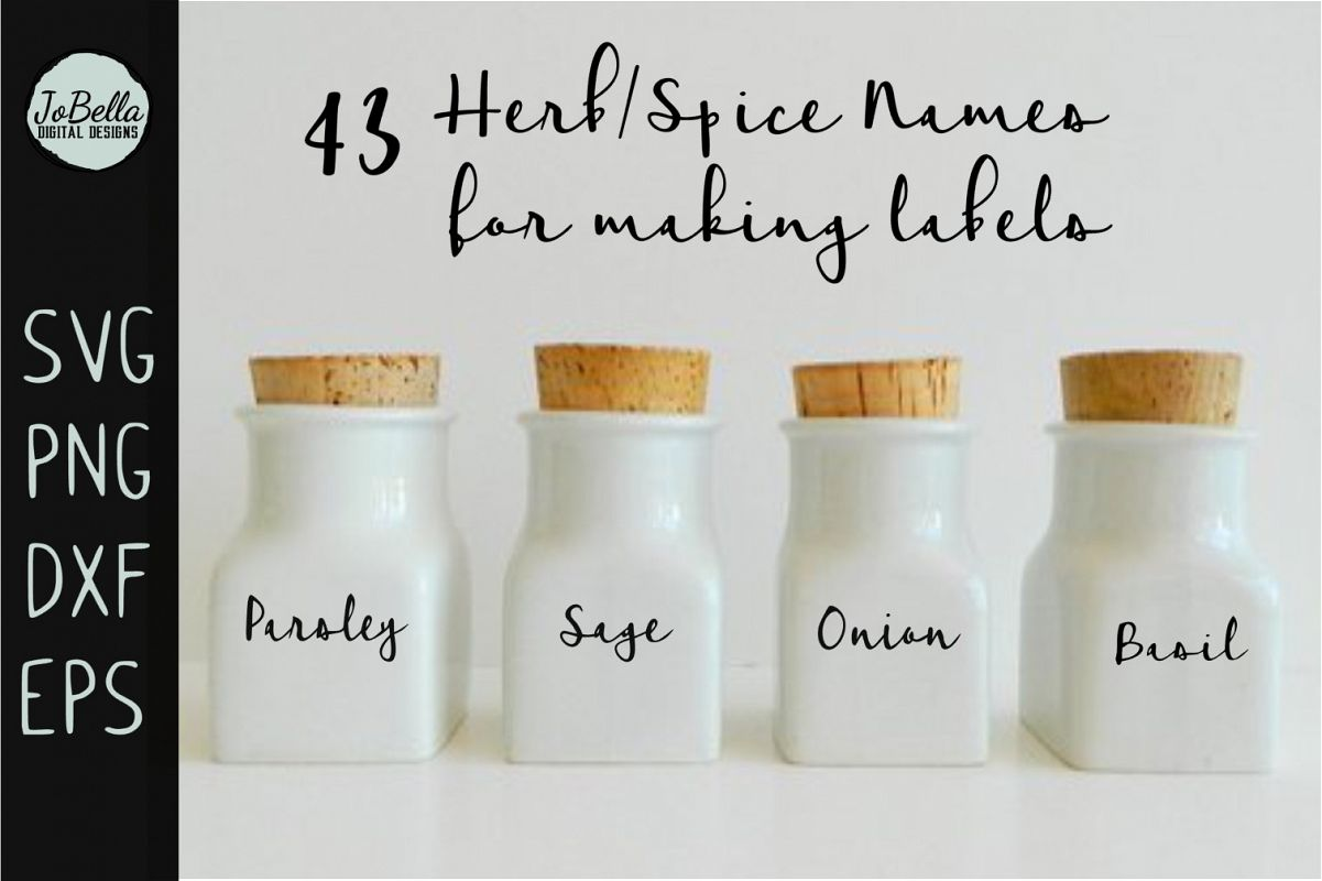 Herb and Spice Labels SVG Bundle- 43 Farmhouse Style Words example image 1