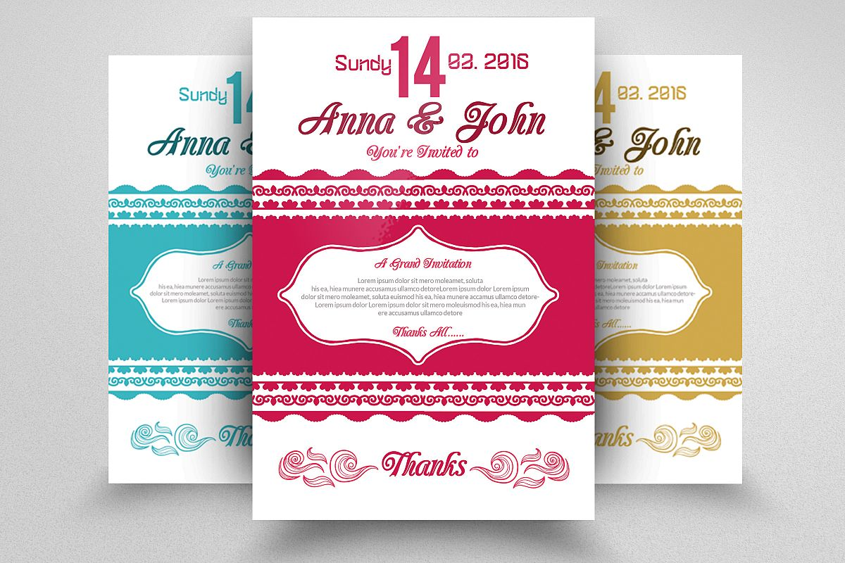 Wedding Invitation Flyers by Designhub | Design Bundles