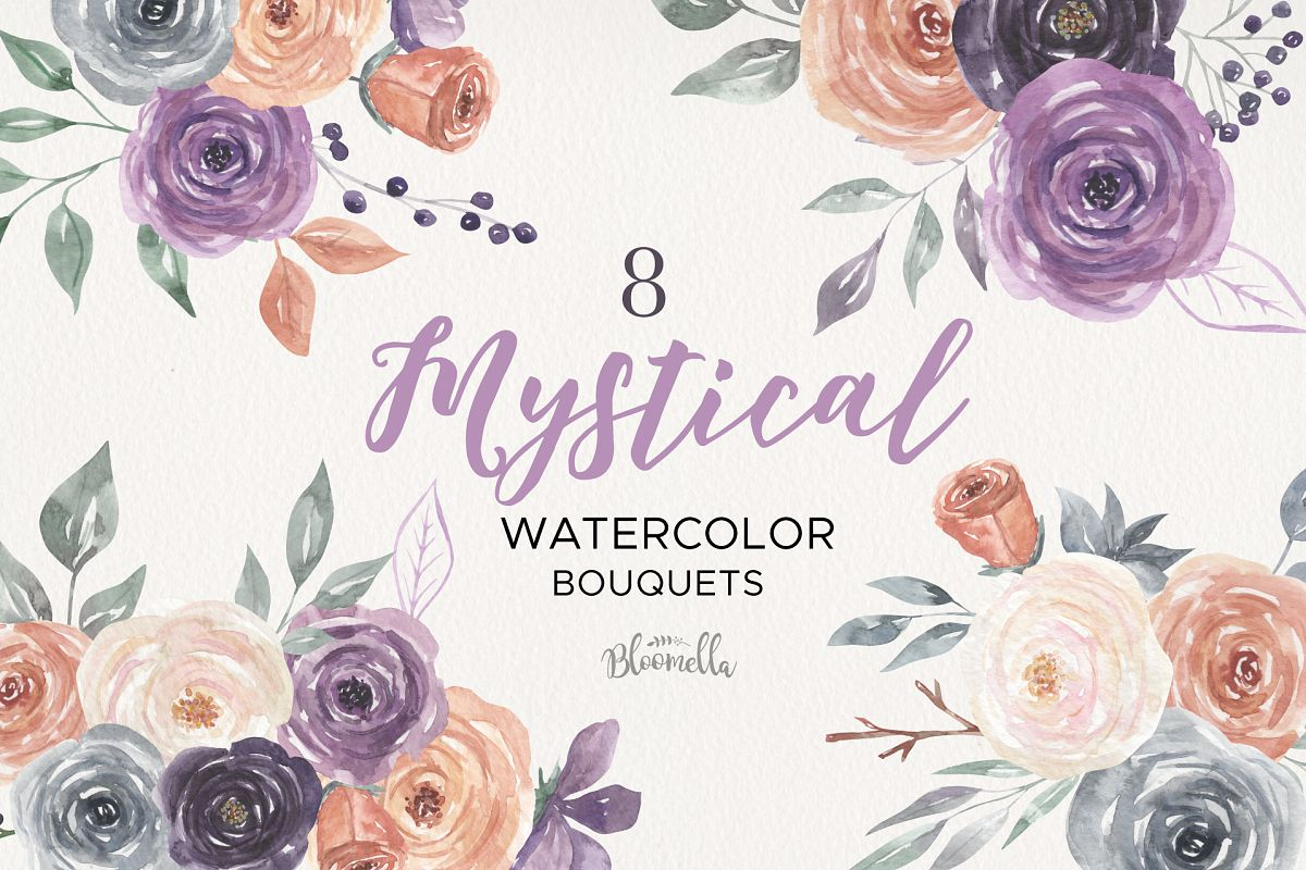 Mystical Watercolor 8 Clipart Bouquets Flowers Berries example image 1