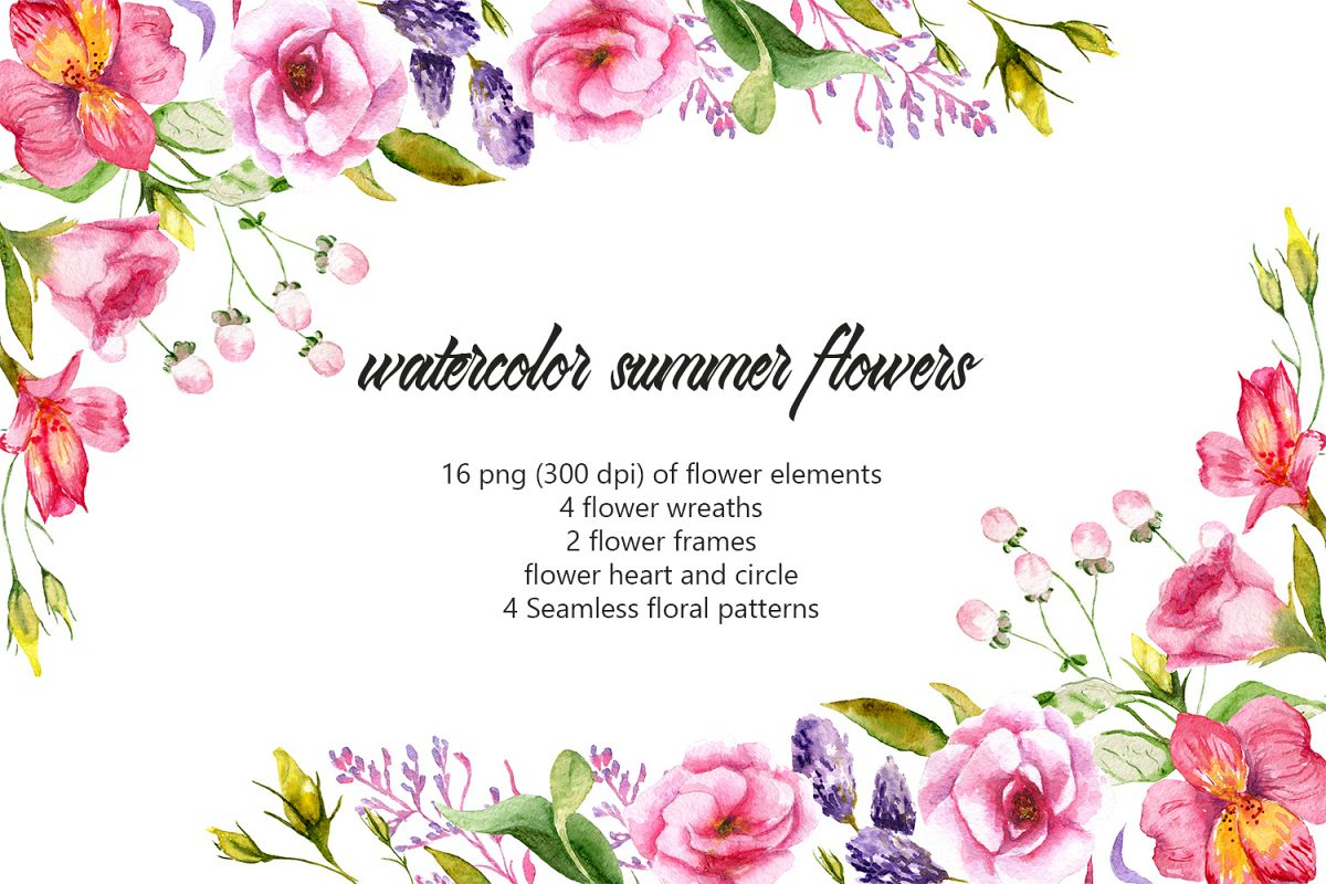Remembrance of summer. Watercolor summer flowers example image 1