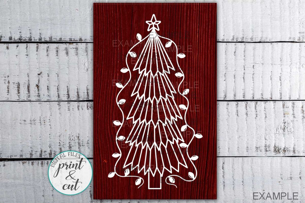 Primitive Christmas Tree Old vintage style svg dxf to cut example image 1