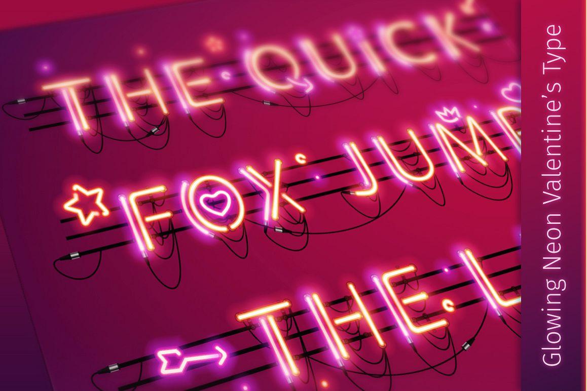 Glowing Valentine's Neon Type example image 1