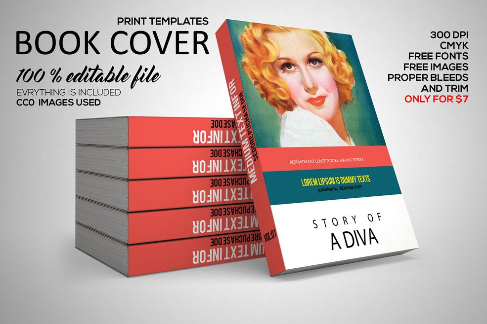 Novel Book Cover Template example image 1