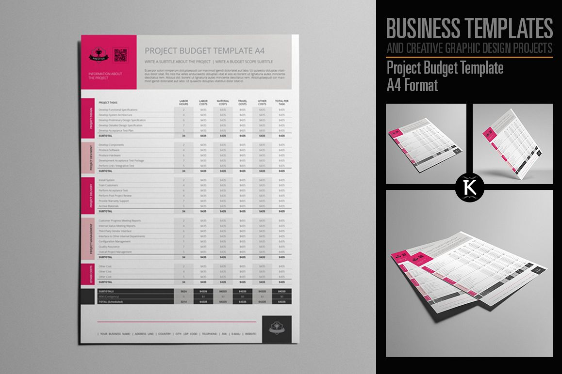 Project Budget Template A4 Format Example Image 1