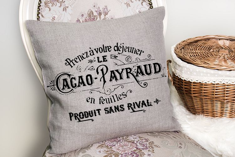 Antique French printable furniture pillow art sublimation example image 1