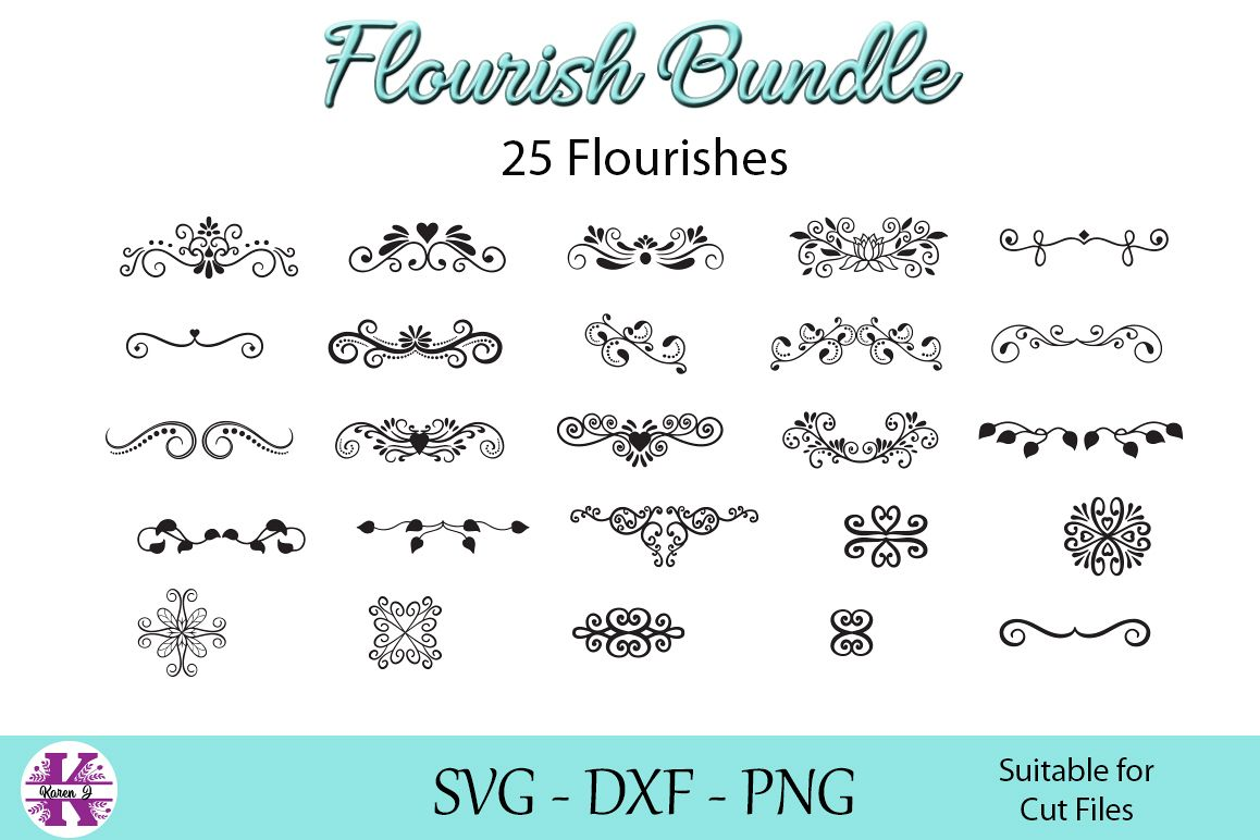 Flourish Bundle - SVG DXF PNG - For Crafters example image 1