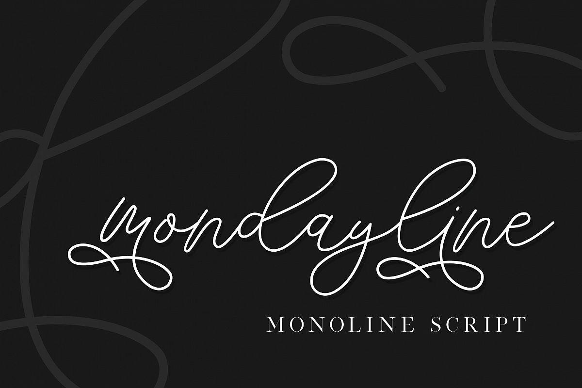 mondayline script font example image 1
