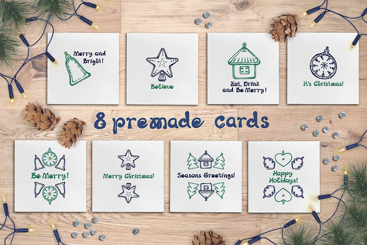 8 hand drawn greeting cards with Christmas decorations example image 1