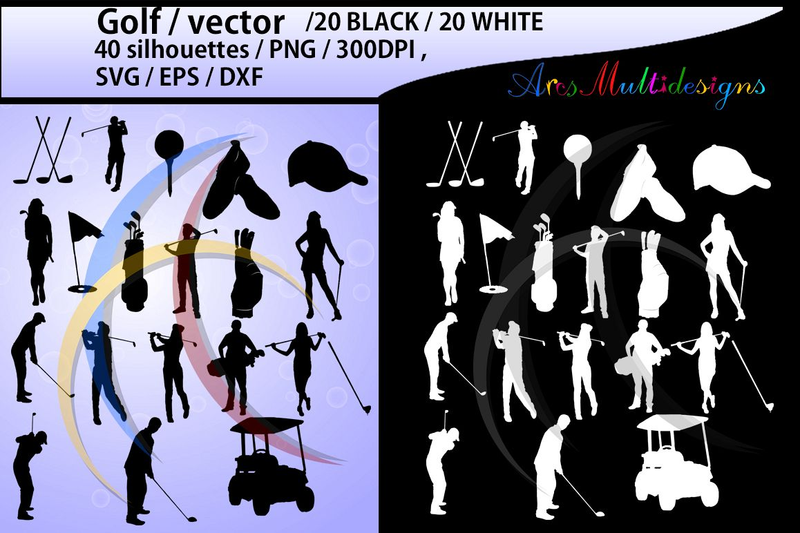 golf / golf SVG / golf silhouette / golf clipart / printable golf players / golf game set / EPS / PNG file /High Quality Vector / Dxf example image 1