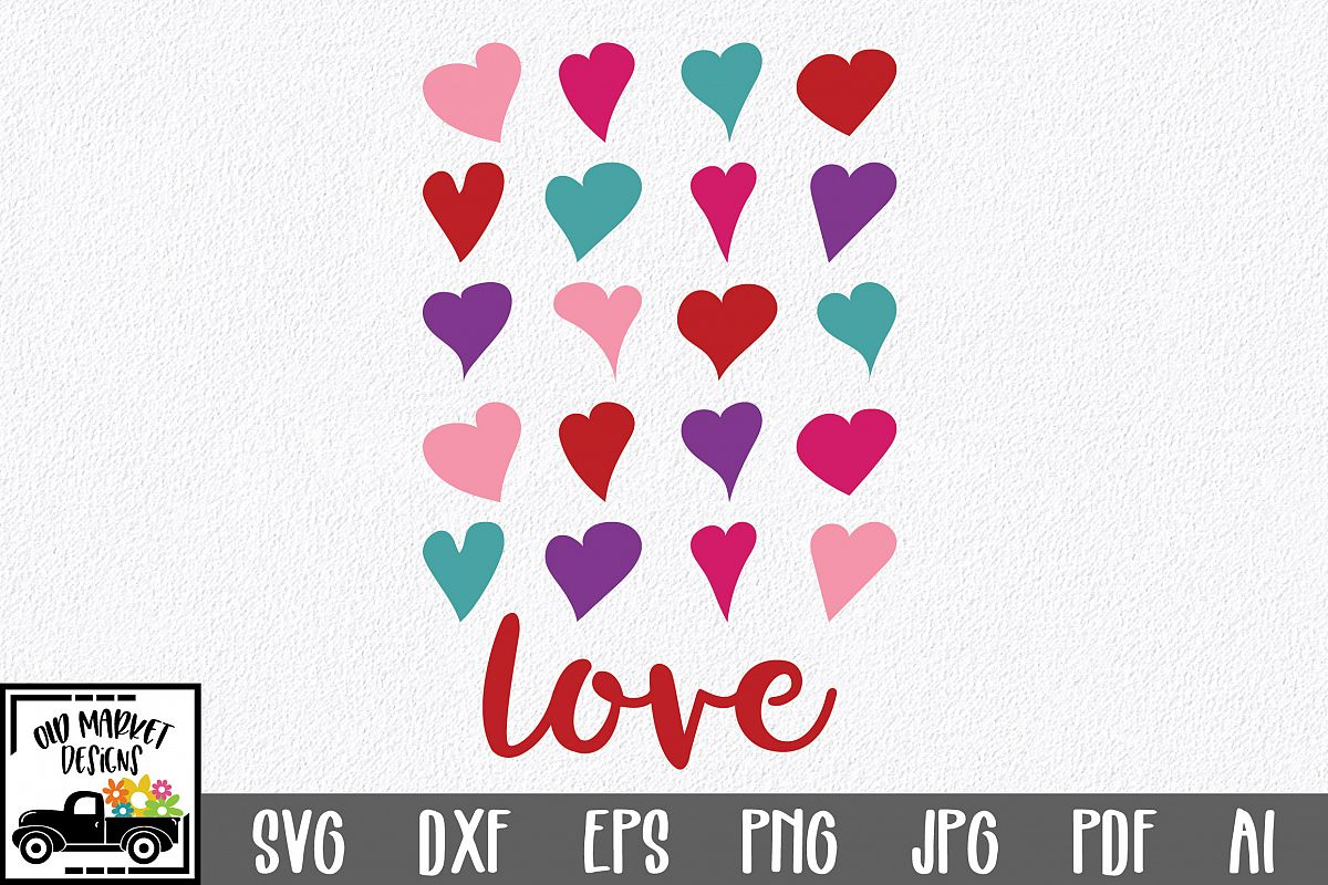 Love with Hearts SVG Cut File - Valentine SVG - DXF - EPS example image 1