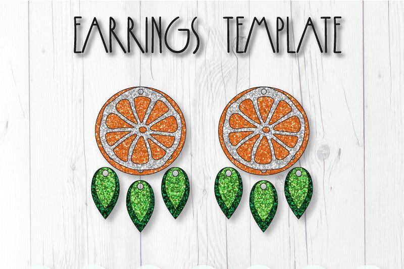 Orange earrings template SVG, DIY earrings template example image 1