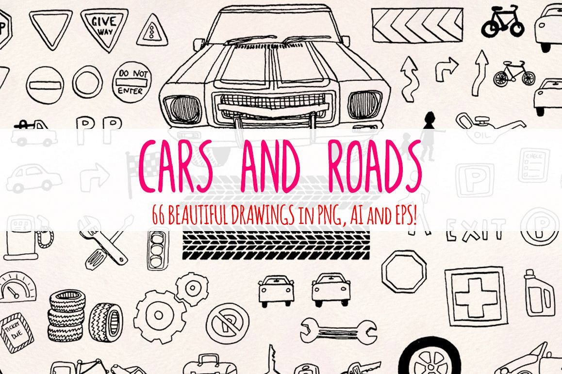 66 Cars and Road Transport Vector Sketches example image 1