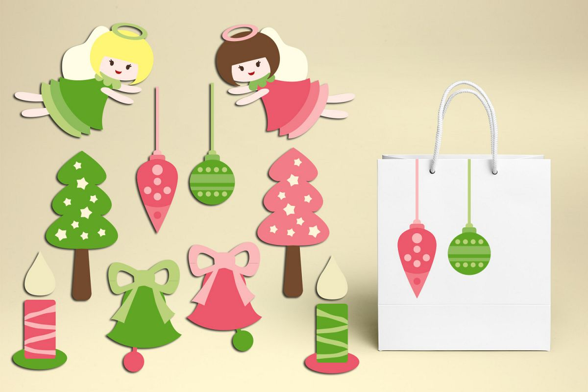 Christmas Ornaments And Angels Pink Lime Green