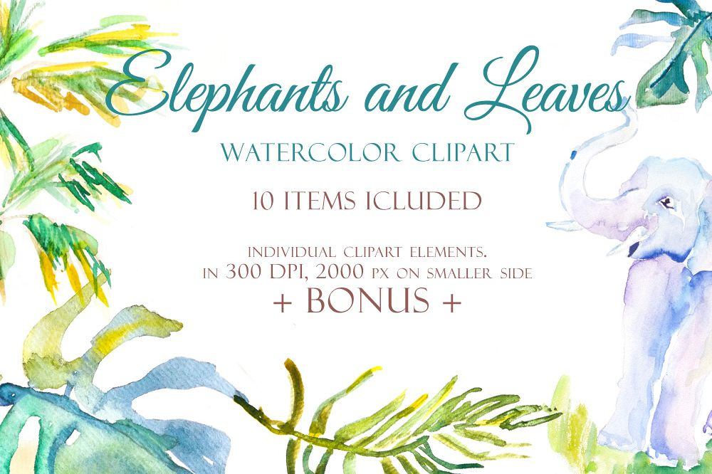 Elephants and Palm leaves watercolor clipart & BONUS pattern example image 1