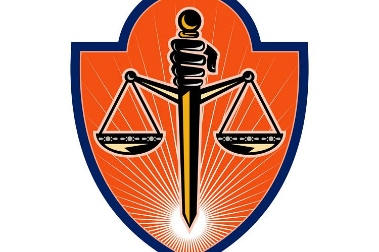Hand holding sword scales of justice example image 1