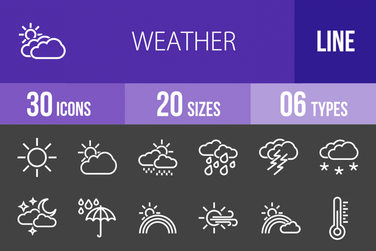 30 Weather Line Inverted Icons example image 1