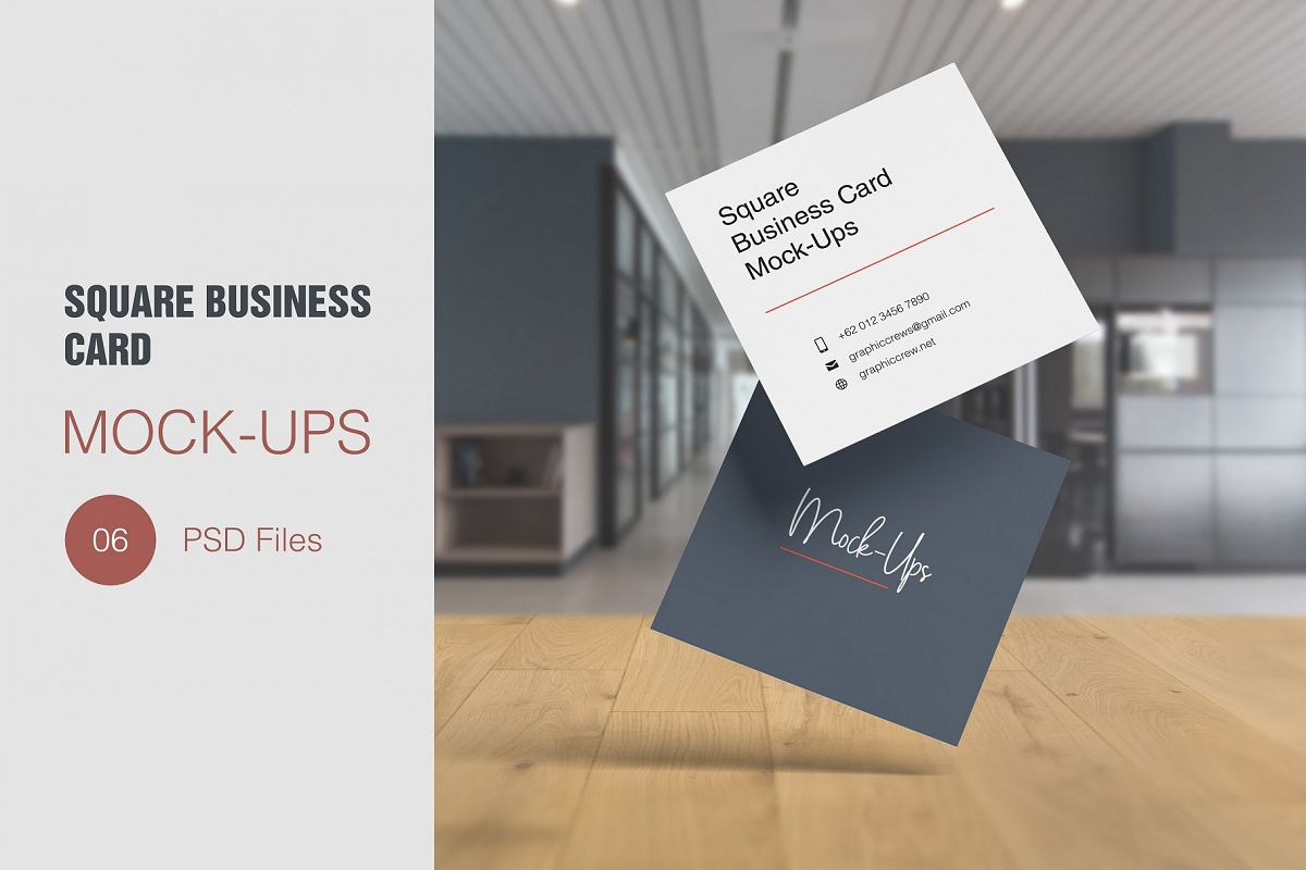 Square Business Card Mockup example image 1