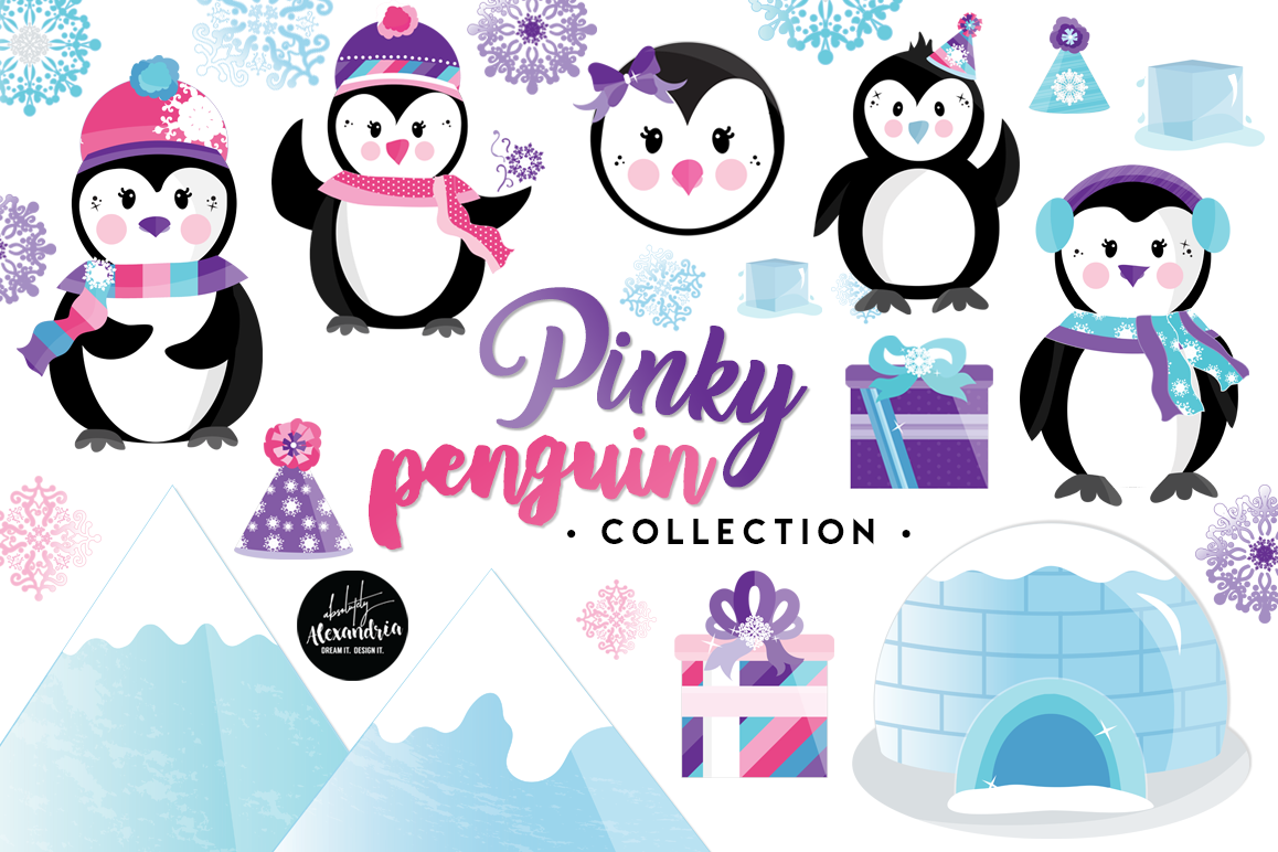 Pinky Penguin Clipart Graphics & Digital Paper Patterns Bundle example image 1