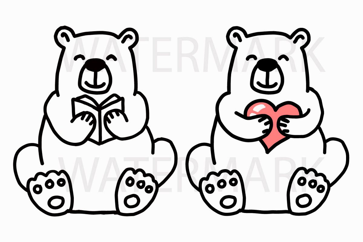bear reading book with bear holding a heart svg jpg png