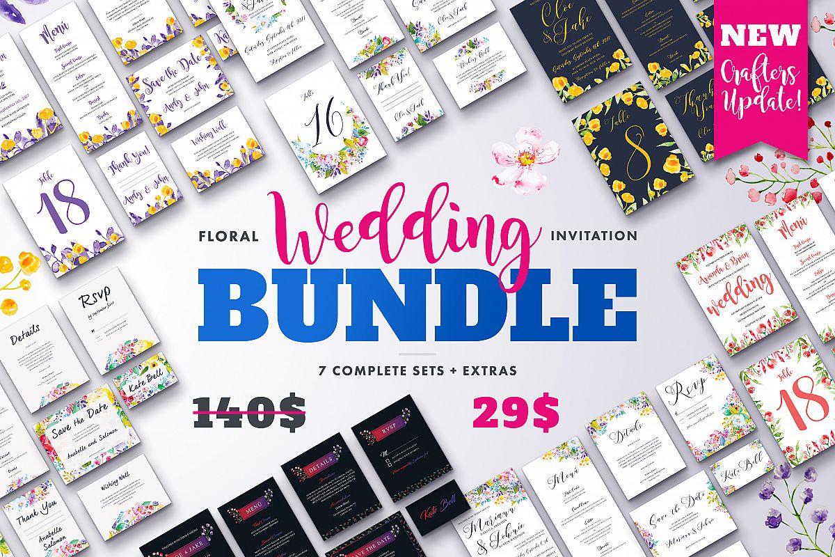 Flower Wedding Invitation Bundle / Wedding Suite Bundle example image 1