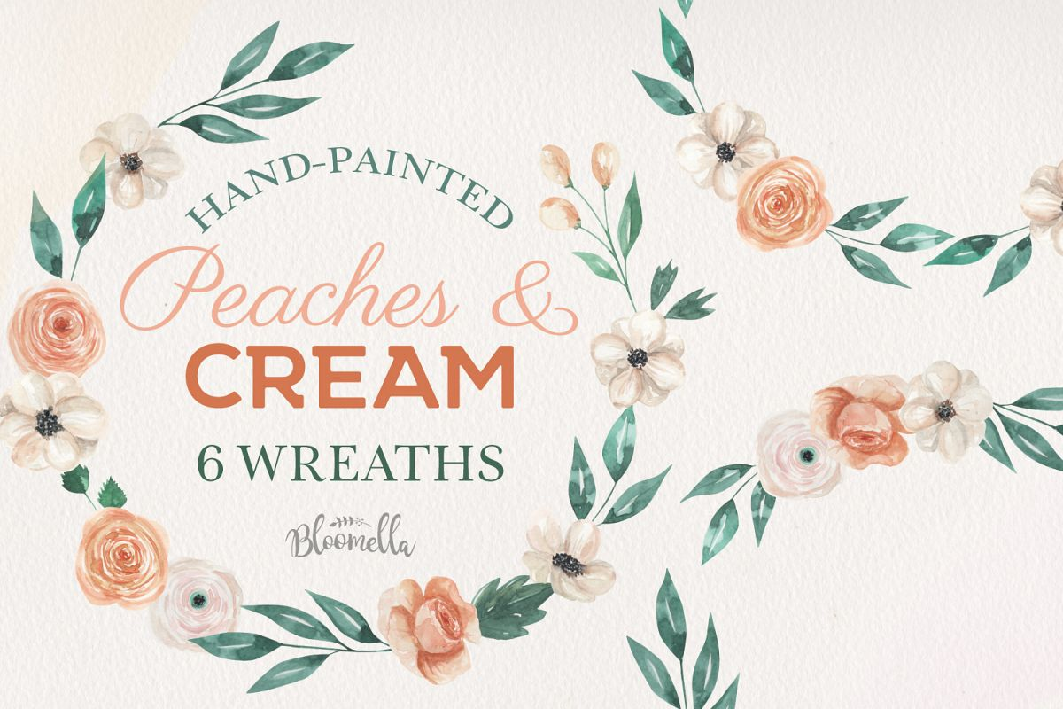 Peaches & Cream Floral 6 Wreath Watercolor Flower Garlands example image 1