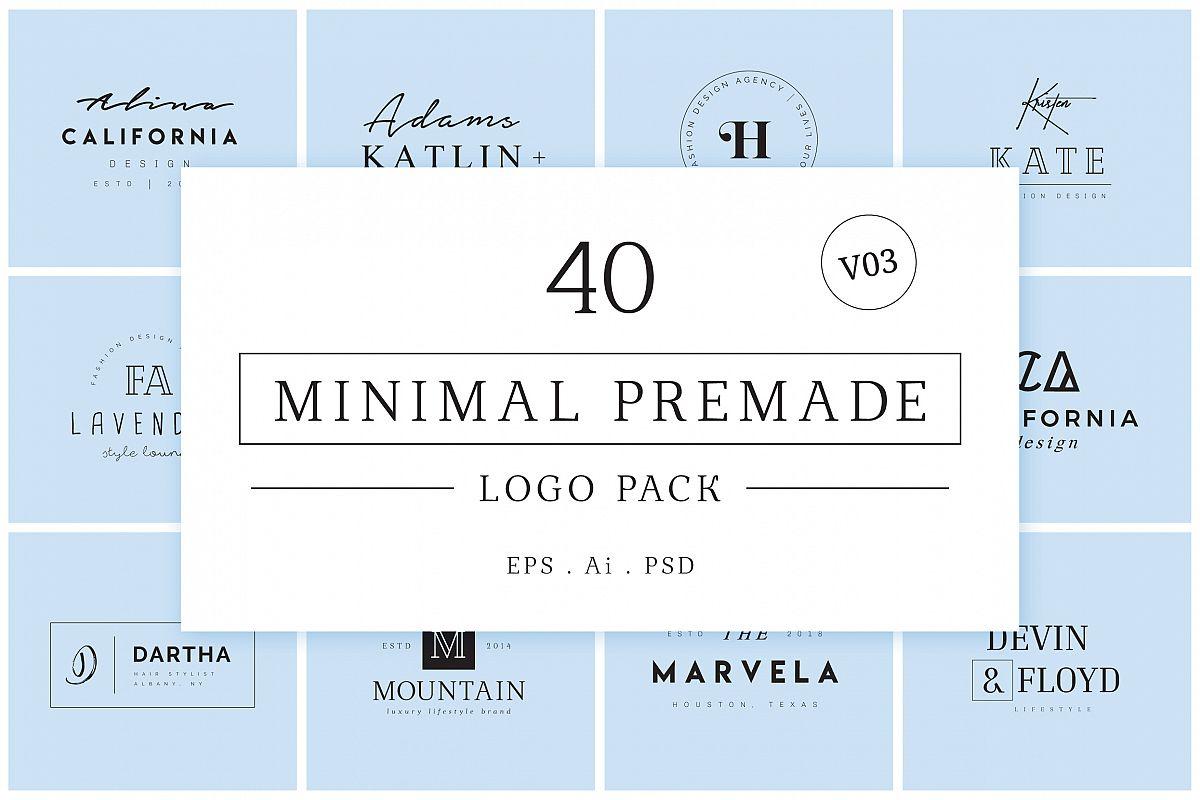 Minimal Premade Logo Bundle V03 example image 1