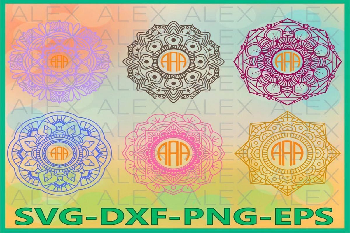 Mandala Circle Monogram Frames SVG, Mandala svg example image 1