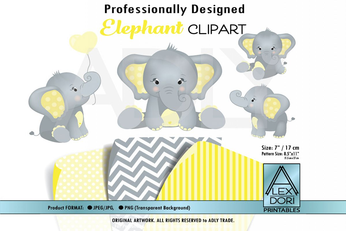 yellow Elephant with Polka Dot Ears, including 4 poses example image 1