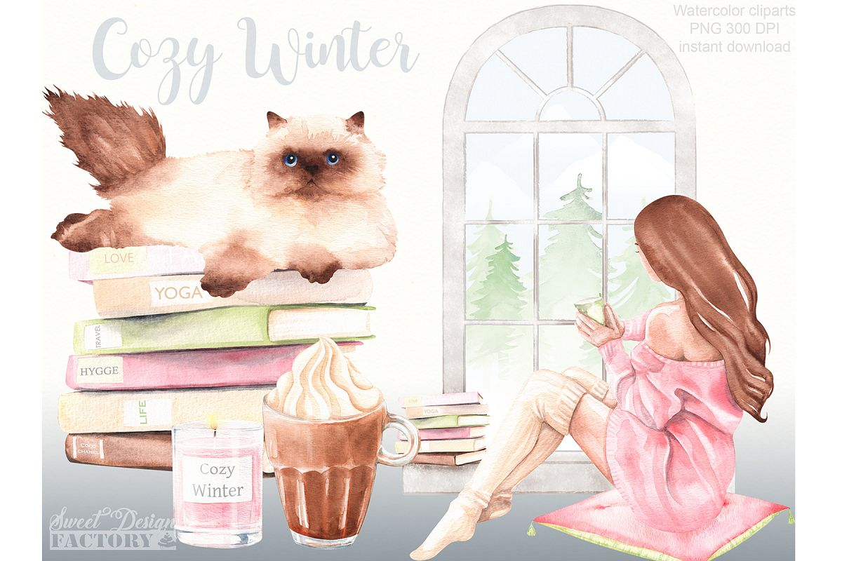 Cozy winter clipart. example image 1