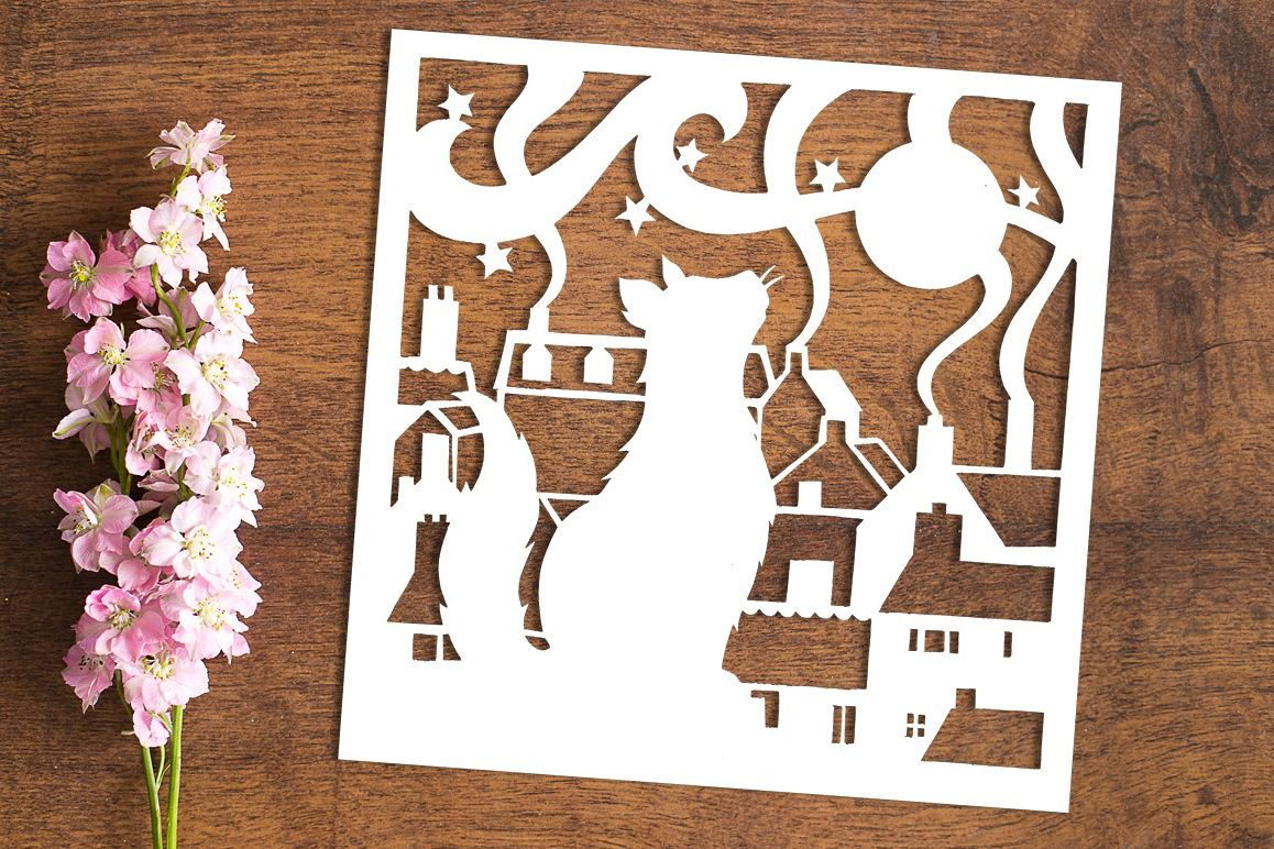 Cat On A Hot Tin Roof - Paper Cutting Template example image 1