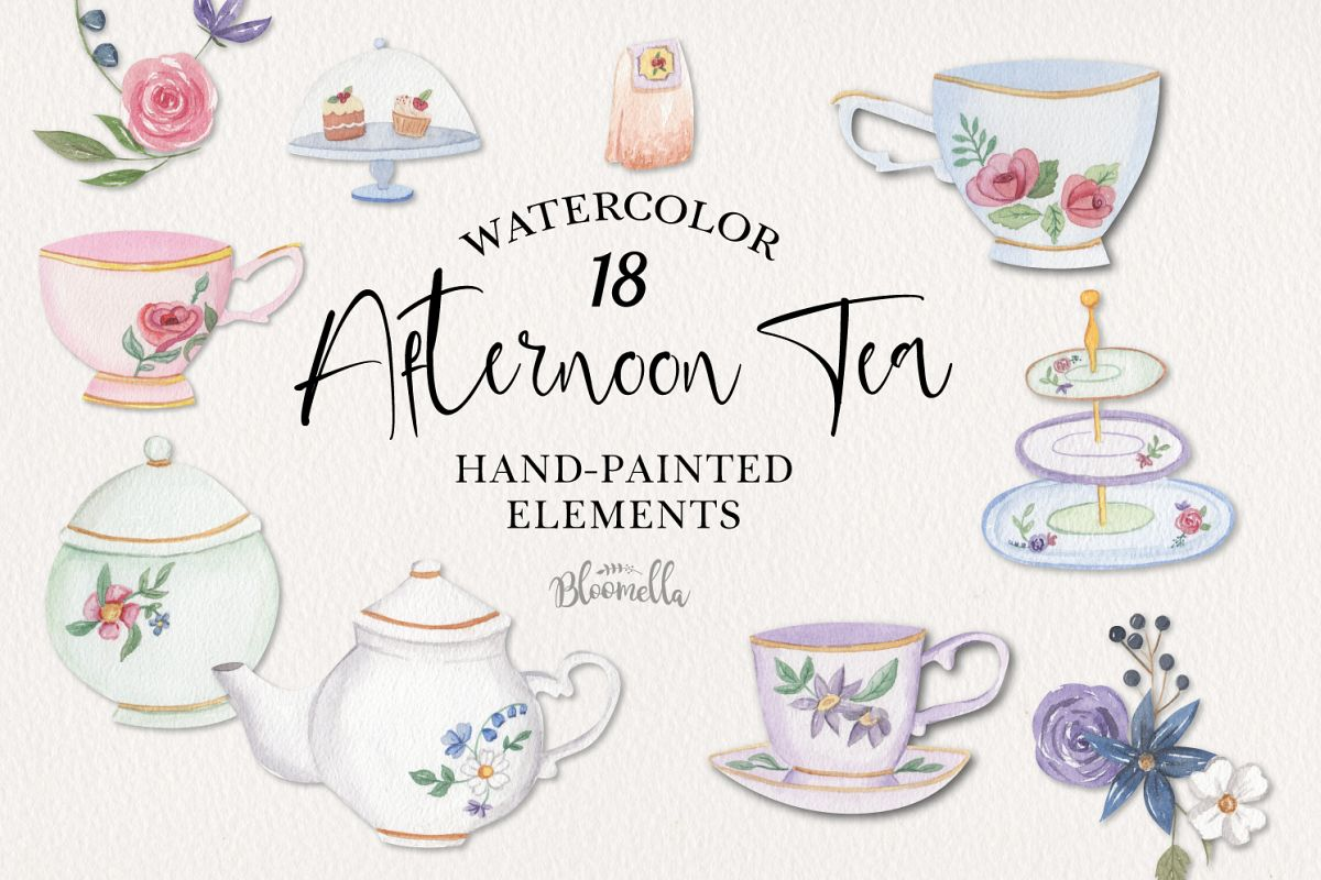 Afternoon Tea 18 Mini Watercolor Teapot & Cups Cakes Florals example image 1