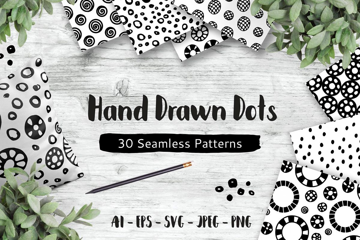 Hand Drawn Dots, 30 Seamless Patterns example image 1