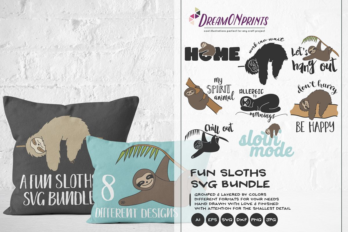 Sloths SVG BUNDLE - Vector Sloth SVG Cut Files example image 1