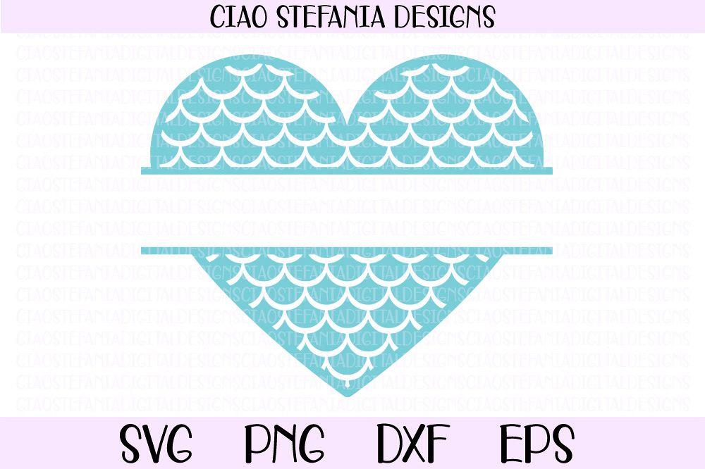 Mermaid Scales Hear Split Monogram Frame SVG PNG DXF EPS example image 1