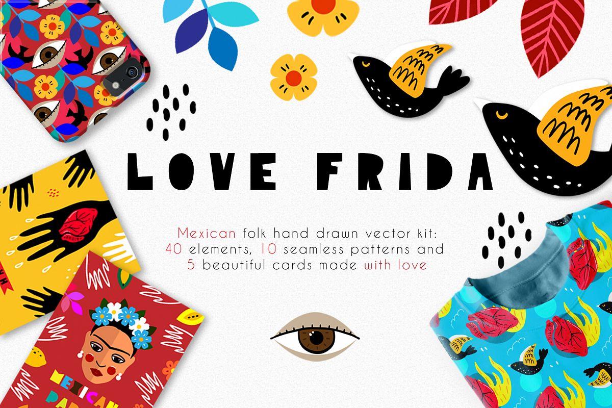 Love Frida - Mexican folk kit example image 1