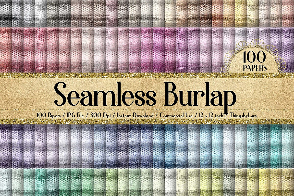 100 Seamless Realistic Burlap Texture Shabby Digital Papers example image 1