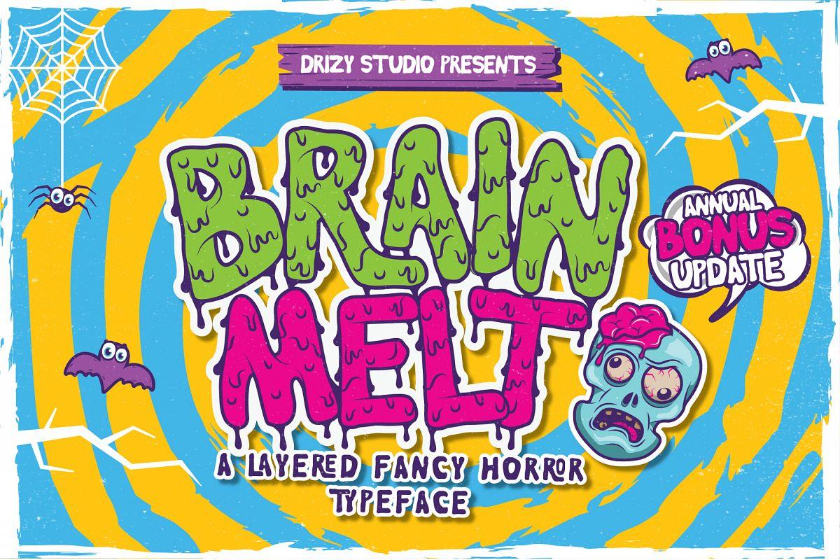 Brain Melt Layered Typeface UPDATE! example image 1