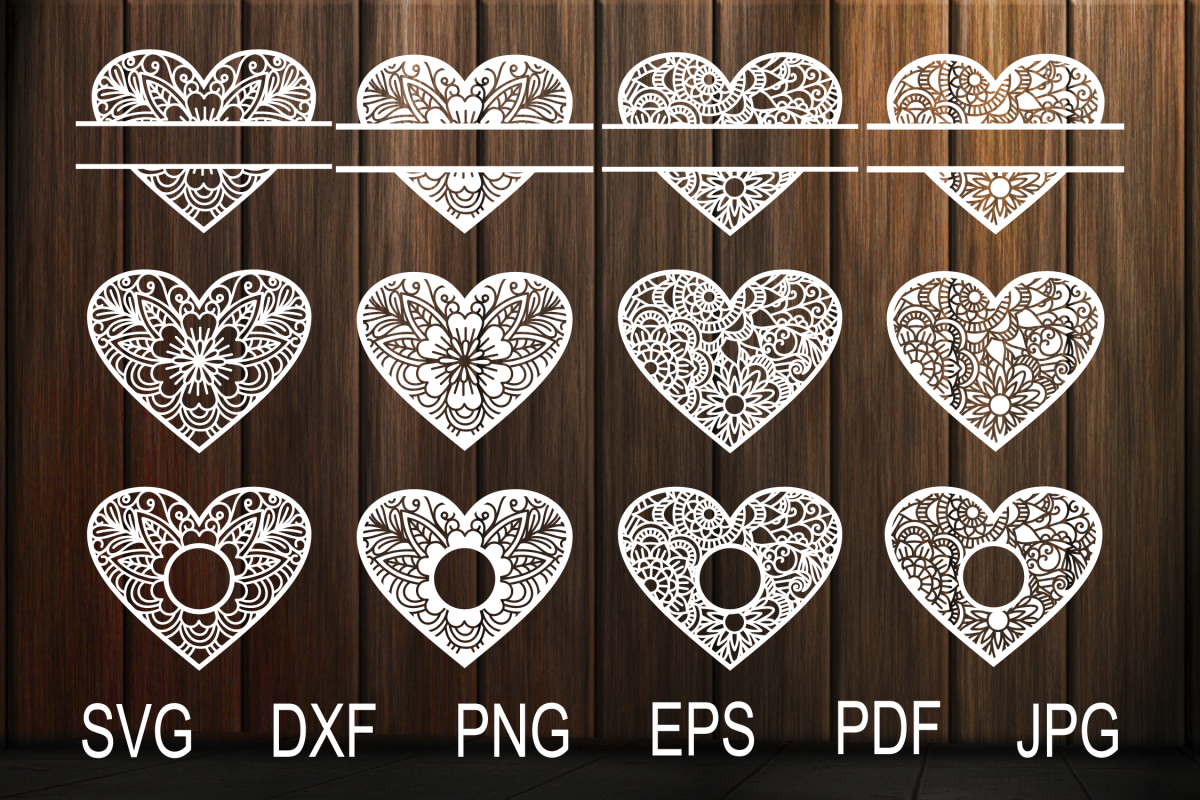 Heart SVG, Zentangle Heart SVG, Mandala Heart, Heart Frames example image 1